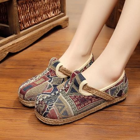 Vintage Embroidered Cotton Linen Loafers