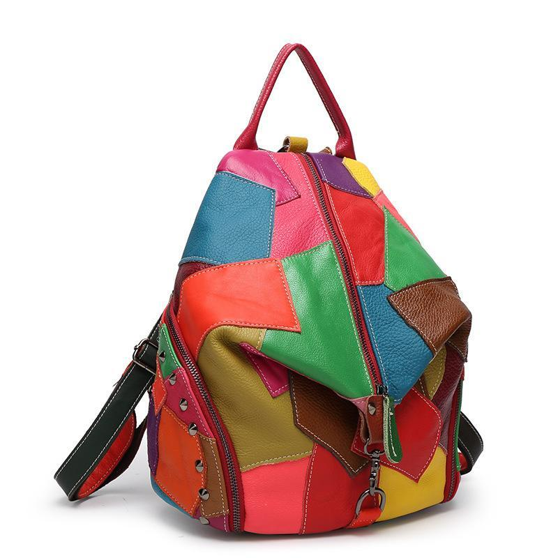 Buddha Trends Colorful Patchwork Leather Backpacks