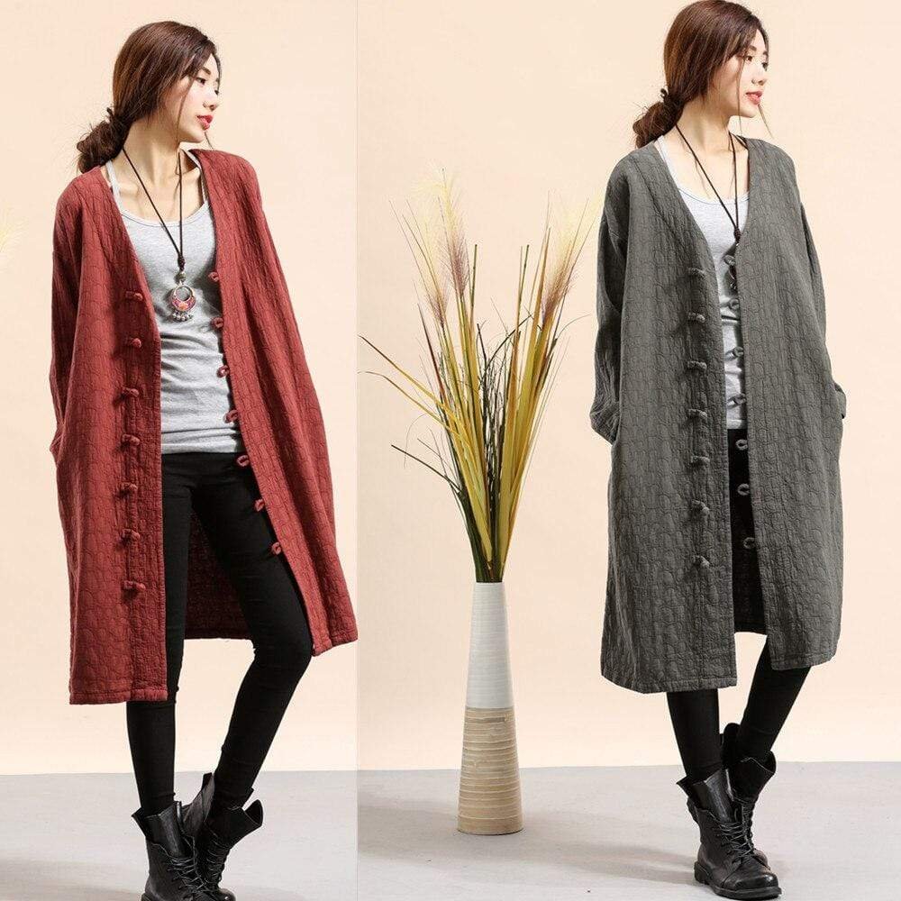 Buddha Trends Cotton and Linen Button Down Light Coat