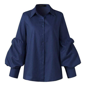 Buddha Trends قميص أزرق داكن / S Bishop Sleeve Button-Up