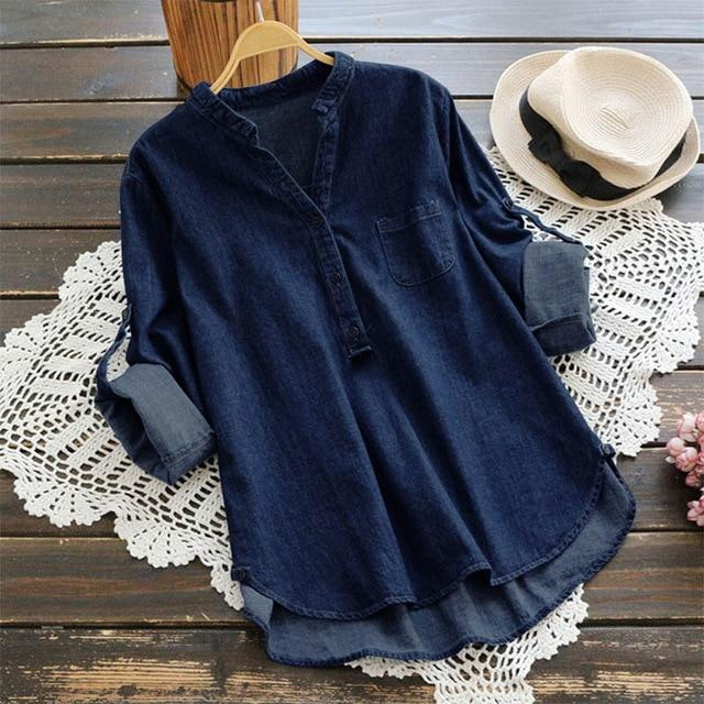 Buddha Trends Dark Blue / S Casual V Neck Denim Blouse