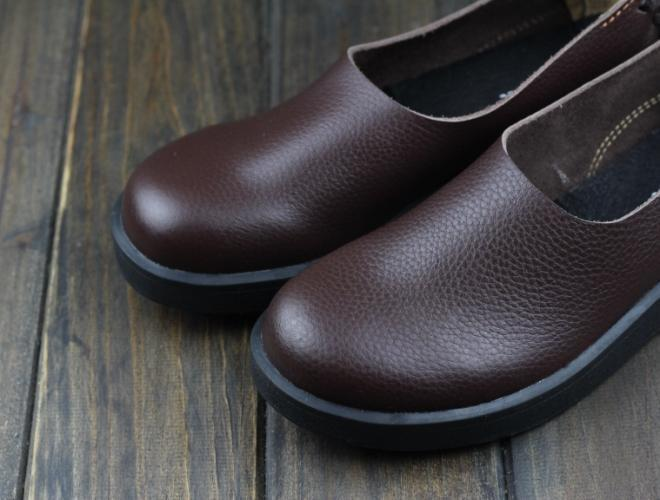Buddha Trends Brown / 6 Genuine Leather Round Toe Flats