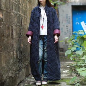 Buddha Trends βαθύ μπλε / M Floral Jacquard Trench Coat