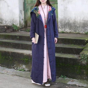 Buddha Trends Deep Blue / One Size Floral Patchwork Hooded Linen Trench Coat