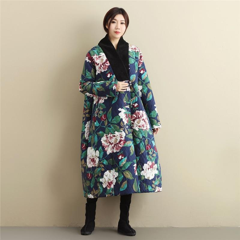 Buddha Trends Deep Blue / One Size Floral Vintage Oversized Coat