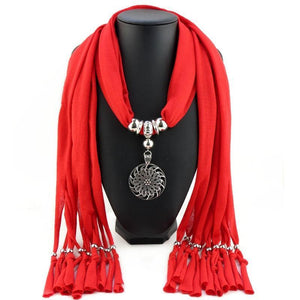 Buddha Trends Deep Red Hollow Circle Flower Purple Scarf Necklace