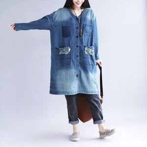 Distressed Long Denim Coat