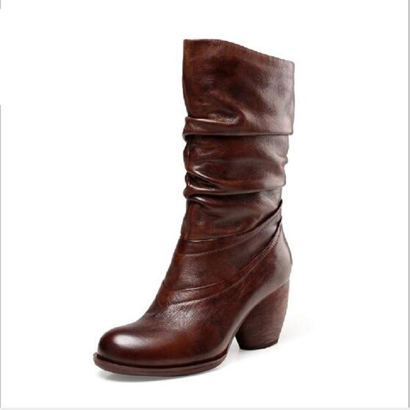 Draped Handmade Leather Boots