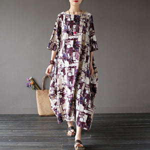 Buddha Trends Dress Art Inspired Robe longue en coton et lin