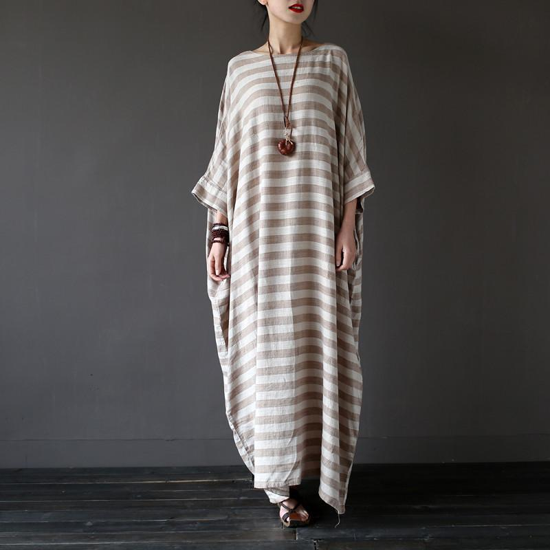 Buddha Trends Dress Grey / L Striped Oversized Maxi Dress