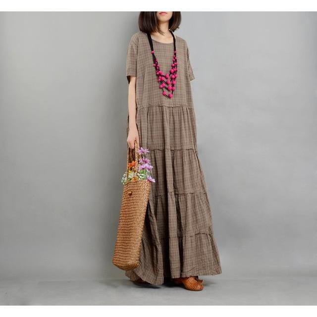 Buddha Trends Dress Brown / One Size Loose Cotton and Linen Dress | Nirvana
