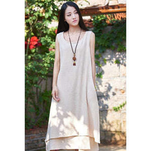 Buddha Trends Dress Beige / S Casual Sleeveless Linen Dress  | Zen