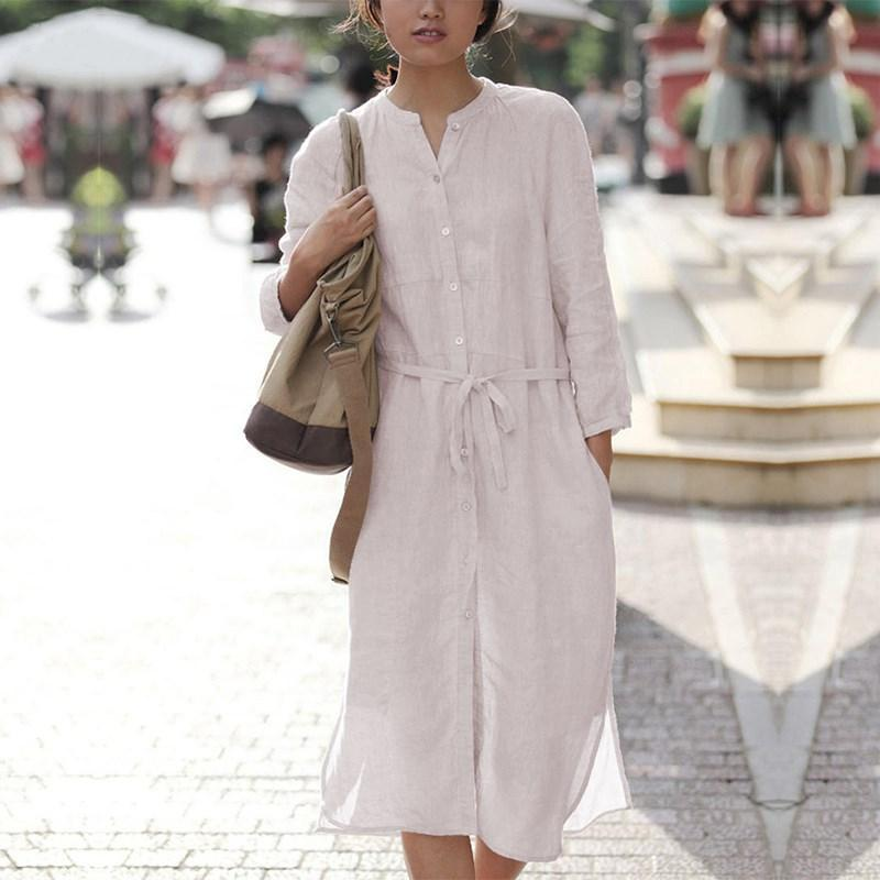 Buddha Trends Dress Beige / S Loose Cotton Shirt Dress  | Zen