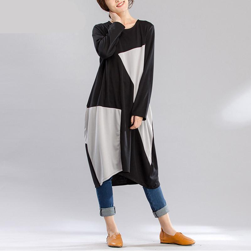 Buddha Trends Dress Black & Grey / L Black and Grey Oversized Geometric Shirt Dress