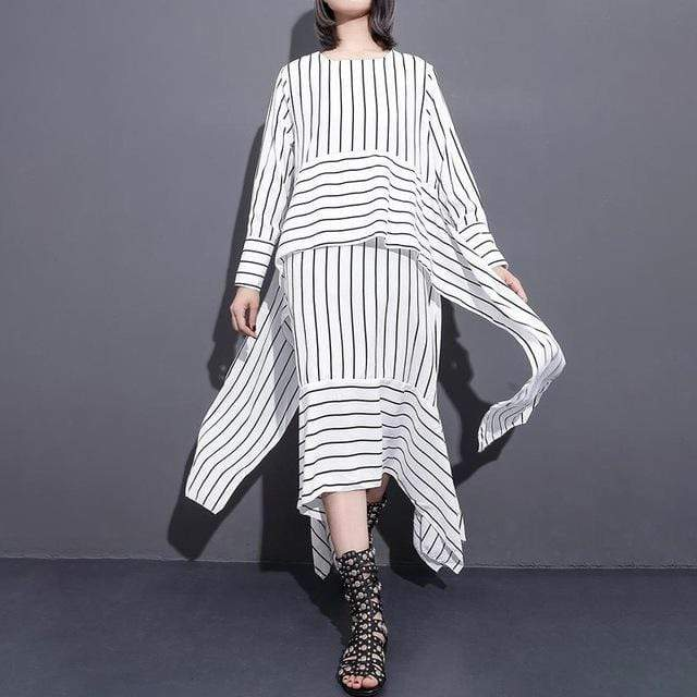 Black and White Striped Wrap Midi Dress