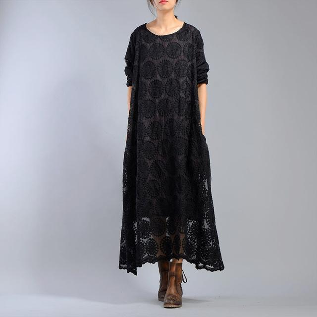 Buddha Trends Dress Black / One Size Black Flower Embroidered Maxi Dress | Nirvana