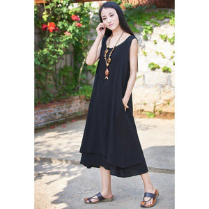 Buddha Trends Dress Black / S Casual Sleeveless Linen Dress  | Zen