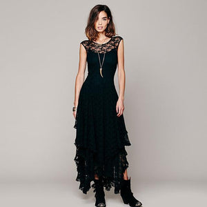 Buddha Trends Dress Black / XL Layered Irregular Lace Bohemian Dresses