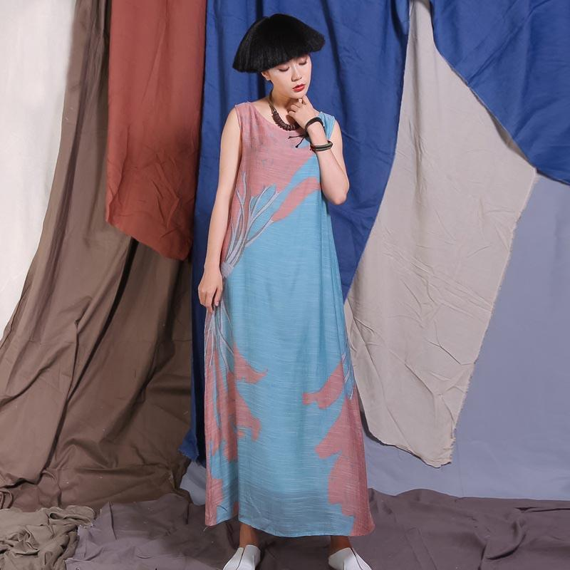 Buddha Trends Dress Blue and Pink / L 80s Fashion Pink and Blue Pastel Maxi Dress