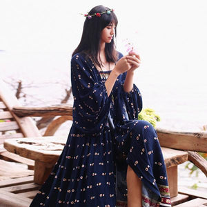 Buddha Trends Dress Blue / M Floral Print Vintage Maxi Dress with Bohemian Lantern Sleeves | Mandala