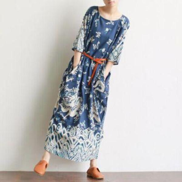 Royal Dragons Linen Dress