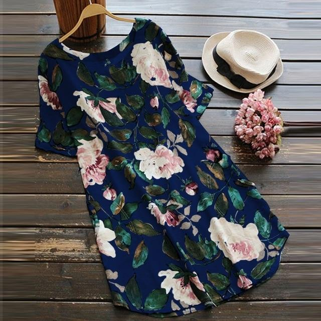 Buddha Trends Dress Blue / S Loose Floral T-Shirt Dress