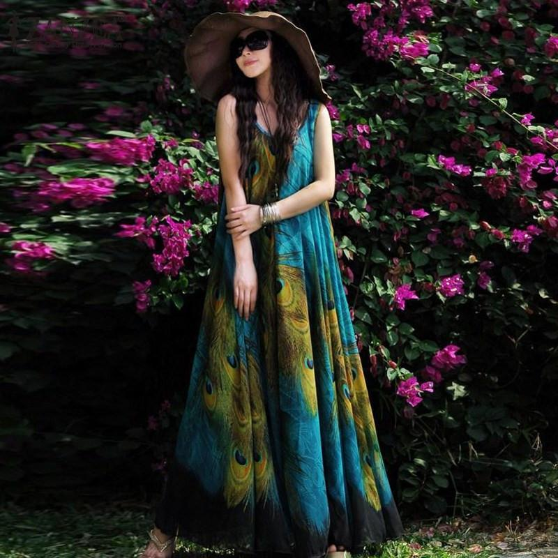Buddha Trends Dress Blue / Small Blue Peacock Chiffon Boho Maxi Dress