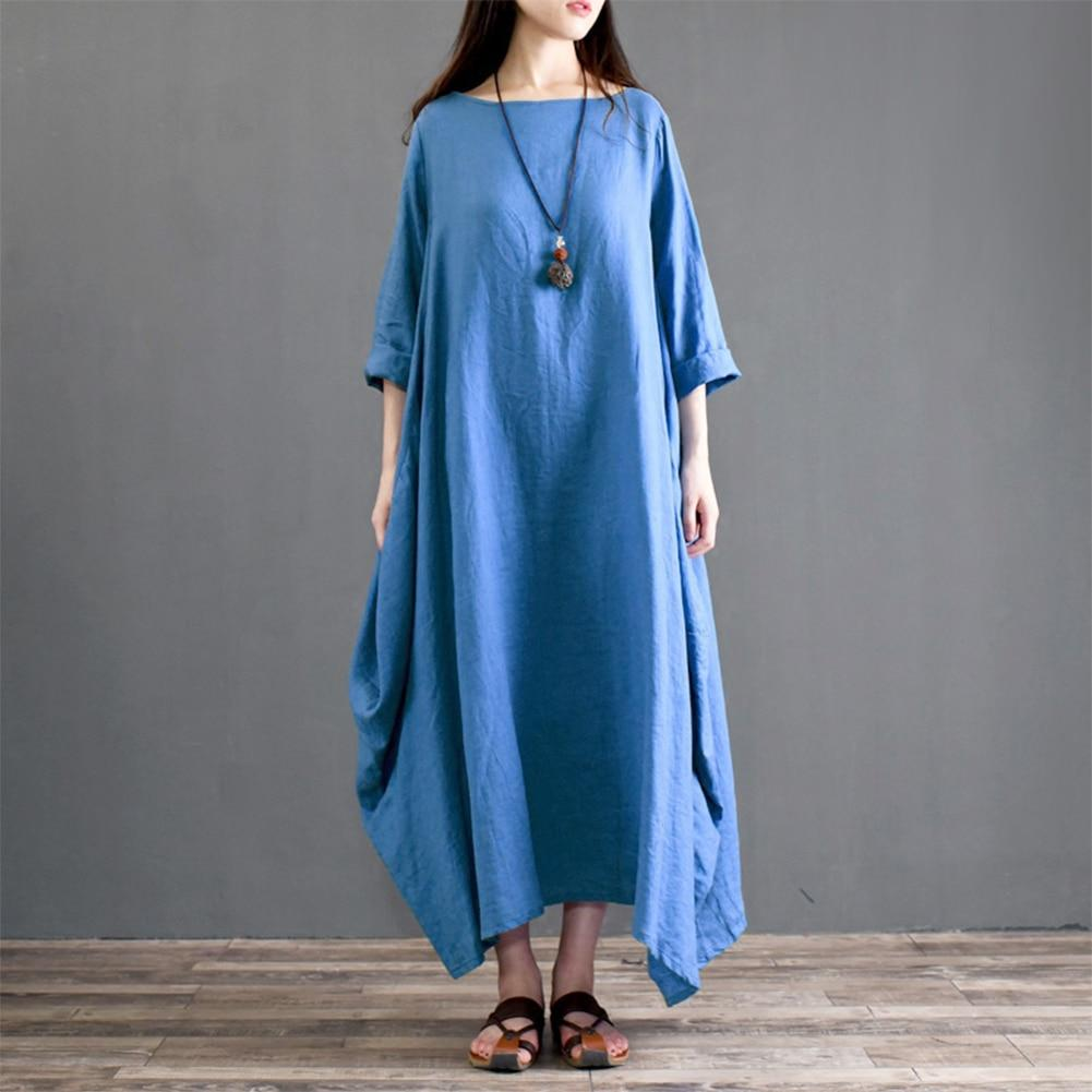 Buddha Trends Dress Blue / XXL Asymmetrical Oversized Maxi Dress
