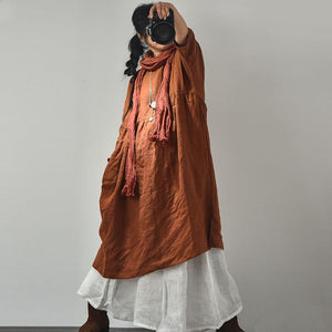 Buddha Trends Dress Brown / One Size Oversized Pleated Zen Robe