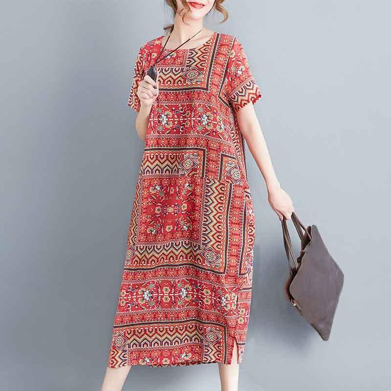Buddha Trends Dress Casual Short Sleeve Loose Printed Dress