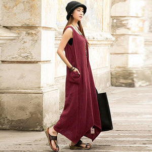 Buddha Trends Dress Casual Sleeveless Maxi Dress  | Zen