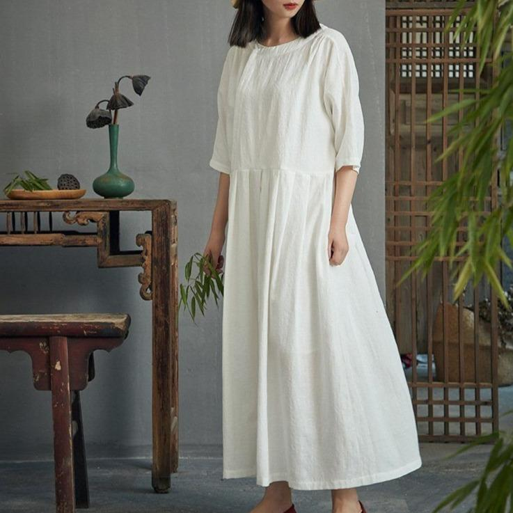 Chinese Style Cotton & Linen Pleated Dress