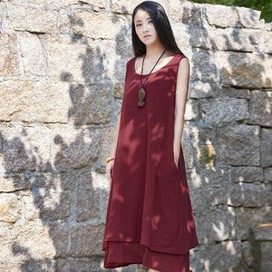 Buddha Trends Dress dark red / S Casual Sleeveless Linen Dress  | Zen