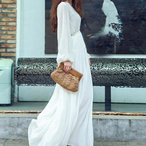 Buddha Trends Dress Taille Empire Boho Chic Casual Robe Blanche