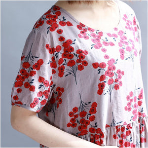 Buddha Trends Kleid Floral Modesty Empire Taille T-Shirt Kleid