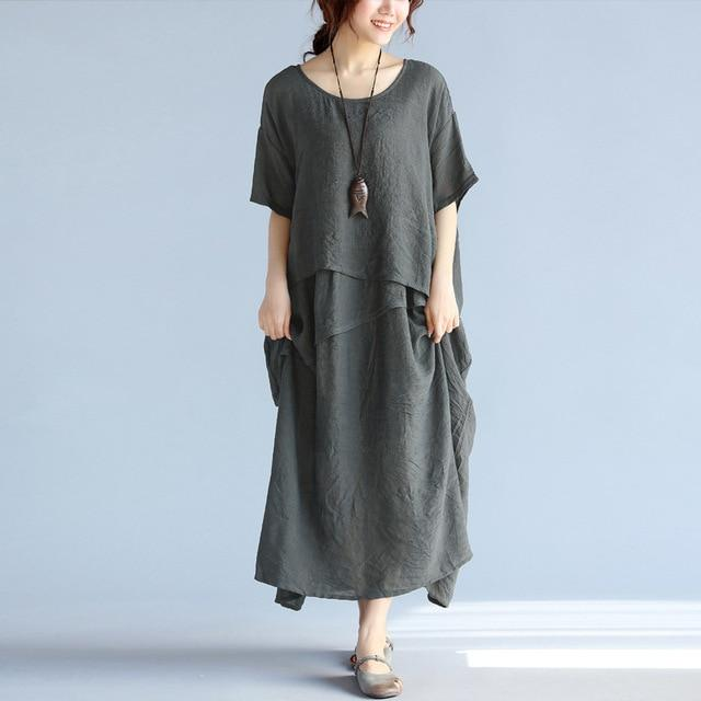 Buddha Trends Dress Gray / One Size Layered Asymmetrical Hippie Dress  | Zen