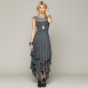 Buddha Trends Dress Gray / XL Layered Irregular Lace Bohemian Dresses