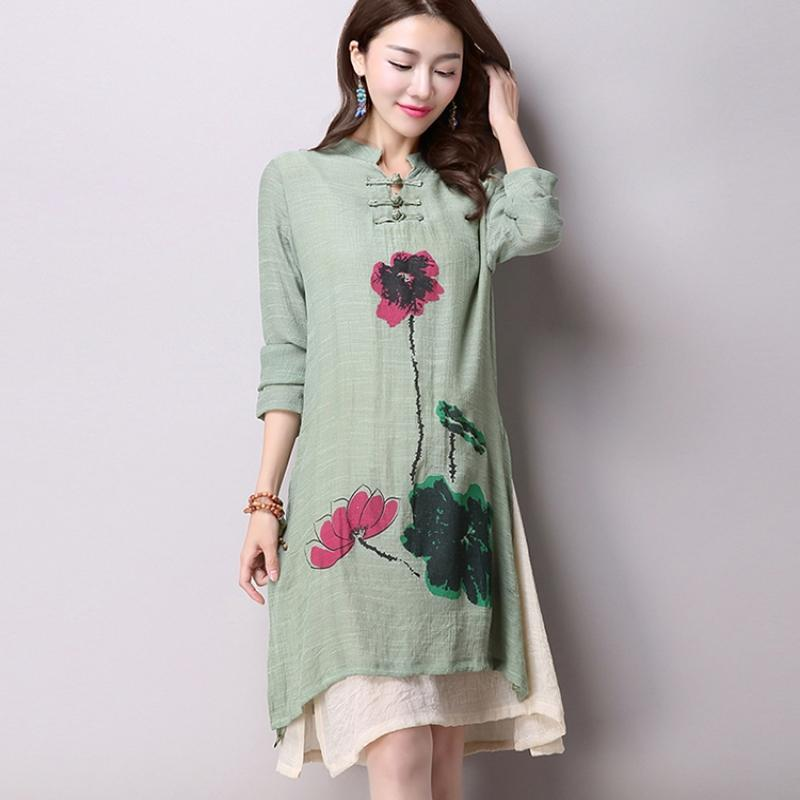 Buddha Trends Dress Green / M Green Lotus Dress  | Zen
