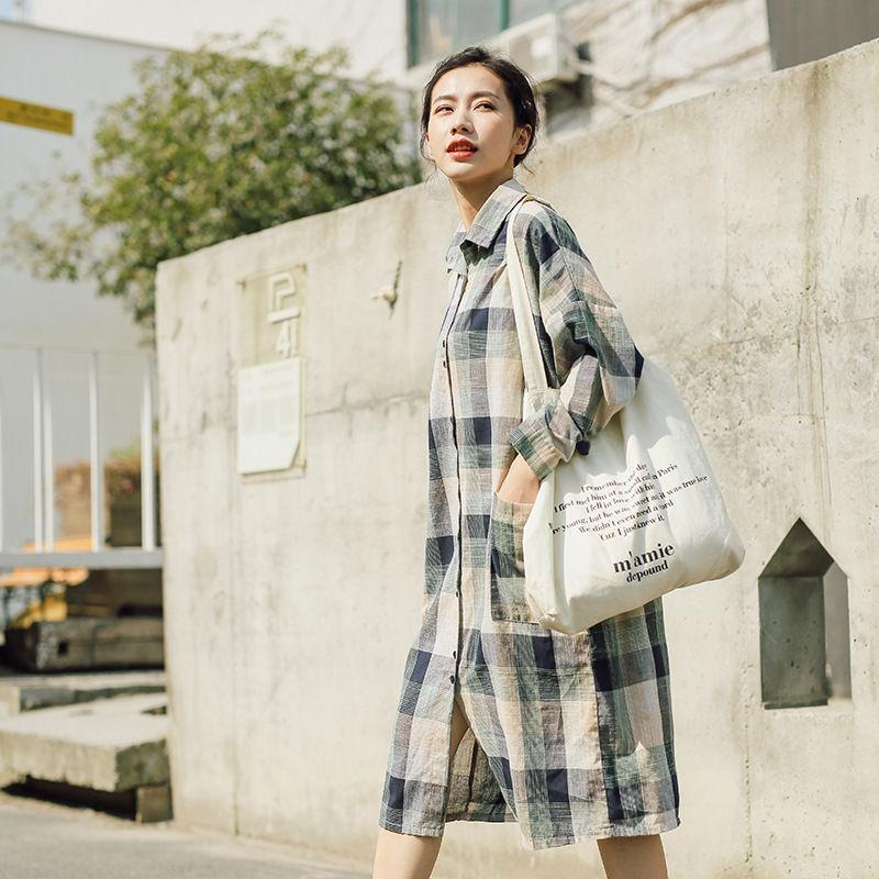 Buddha Trends Dress Green / One Size Casual Plaid Linen Shirt Dress