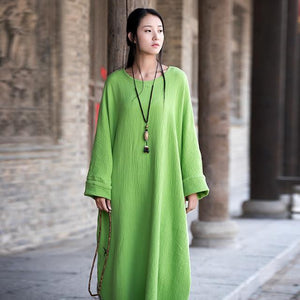 Buddha Trends Dress Vert / Taille Unique Robe Zen Occasionnelle En Coton Surdimensionné | Zen