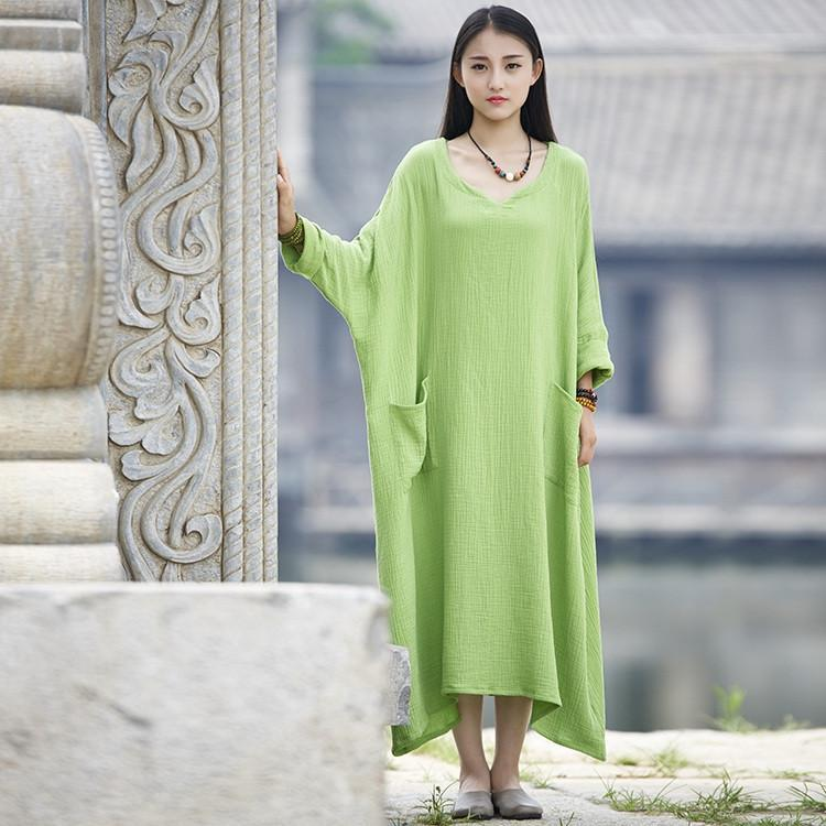 Buddha Trends Dress Green / One Size Oversized Loveleen Dress  | Zen
