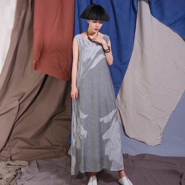 Buddha Trends Dress Grey / L 2 Shades of Grey Sleeveless Maxi Dress