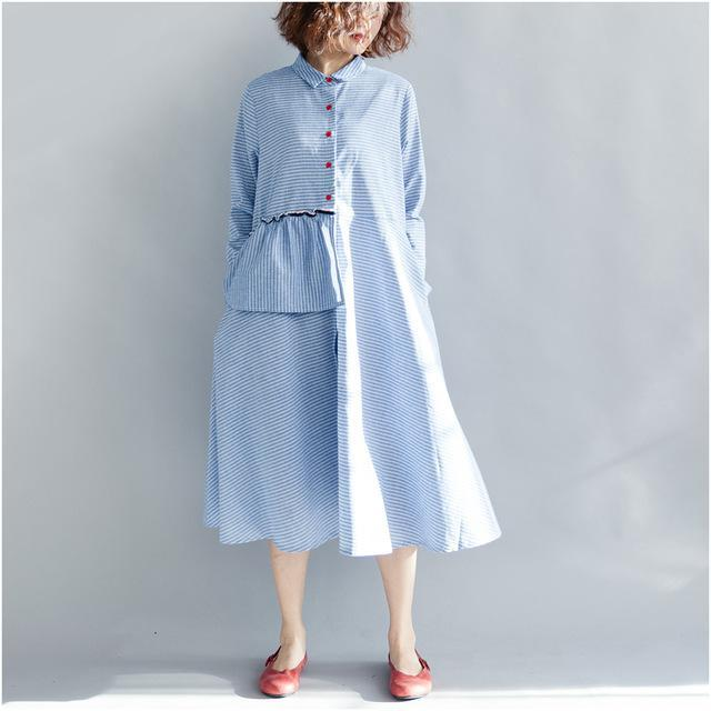 Buddha Trends Dress light blue / L Loose Turn-down Collar Shirt Dress