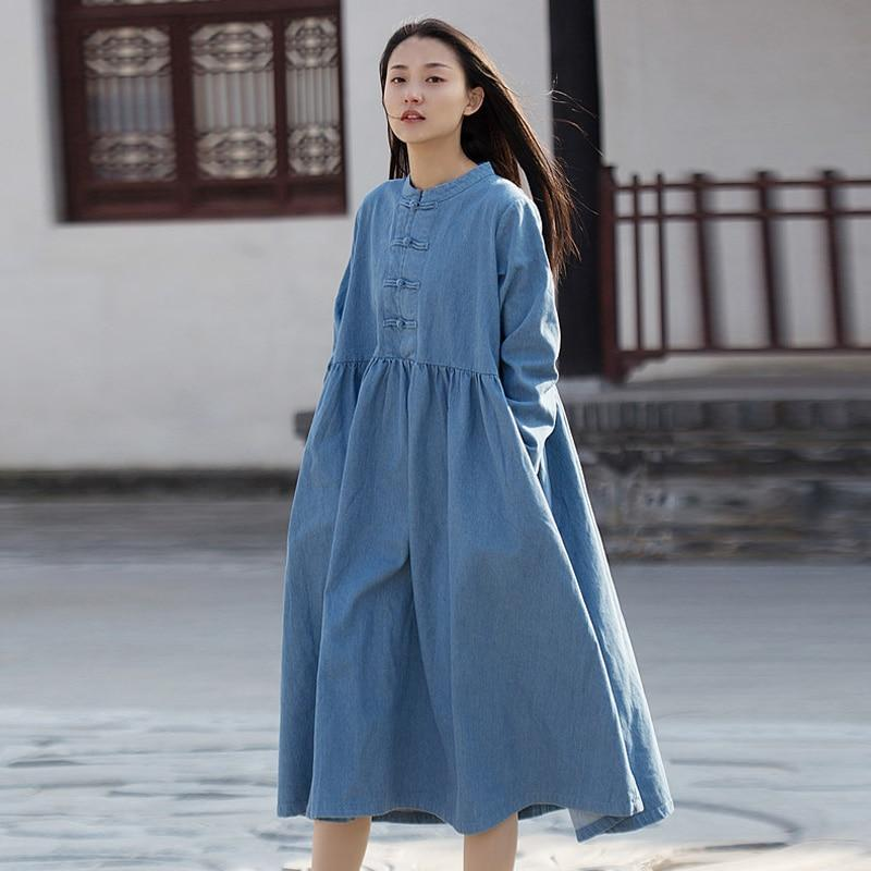 Buddha Trends Dress Light blue / One Size Long Sleeve Mandarin Denim Midi Dress  | Zen