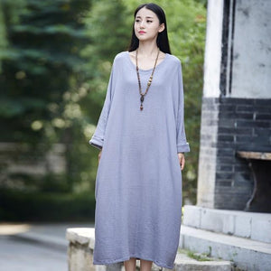 Buddha Trends Dress Gris Clair / Taille Unique Robe Zen Occasionnelle En Coton Surdimensionné | Zen