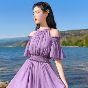 Buddha Trends Dress Robe maxi en mousseline de soie bohème violet clair | Mandala