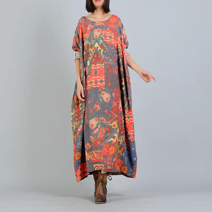 Buddha Trends Dress Loose Linen and Silk Vintage Floral Dress | Nirvana