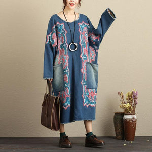 Buddha Trends Dress Multi Blue / One Size Flash Patchwork Denim Dress avec de grandes poches