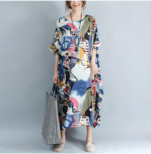 Buddha Trends Kleid Multicolor / One Size Lost Abstract Art Kleid