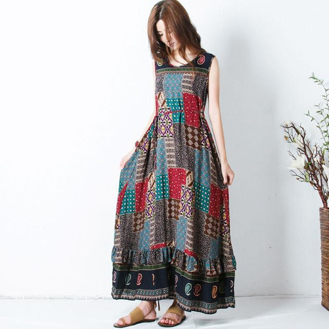 Buddha Trends Dress Sleeveless Patchwork Hippie Dress